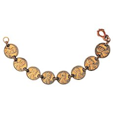 COPPER signed 1970's Copper Pennies made into a Bracelet