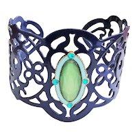 BRACELET- Royal Blue Lace Design Cuff Bracelet with Pretty Green Accents