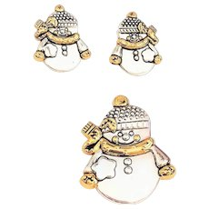 BEST signed Silvertone Snowman Pin Brooch / Pendant with Matching Pierced Earrings