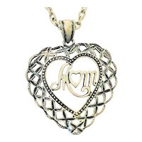 MOM Lace Look Heart Necklace with MOM in the Middle