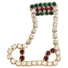 Rhinestone Christmas Clear, Green and Red Stocking Brooch