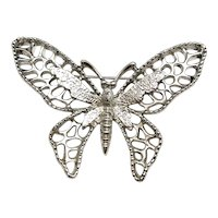 SARAH COVENTRY  signed Butterfly Silvertone Brooch