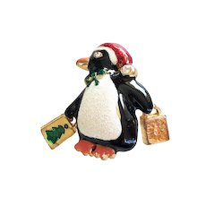 Cute Enameled Penguin Pin Brooch with Dangling Shopping Bags