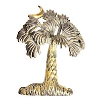 MJ signed Palm Tree with Moon Silvertone Brooch / Pendant