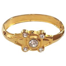 Hinged  Goldtone Bracelet with Pretty Clear Rhinestones
