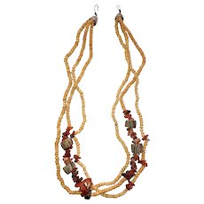 Multi Strand Beaded Necklace with Polished Stones and Ceramic Beads