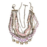 Multi Strand Silvertone Necklace with Pink and Clear Beads