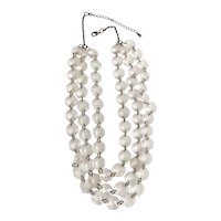 Multi Strand Clear Beaded and Silvertone Necklace