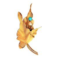 Pretty Goldtone Leaves Brooch with Pearl and Turquoise Accents