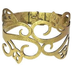 Hinged Wide Brass Bracelet with Pretty Leaves Cut Out Design