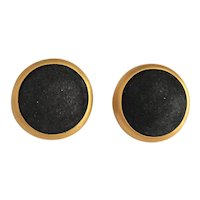 GEORGIOU signed Goldtone with Black Suede Clip On Earrings