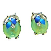 CLIP-ON Green and Silvertone Earrings with Pretty Blue Accents