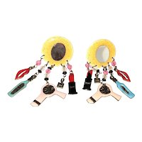 Fun Hair Dresser Clip On Earrings with Dangling Charms and Beads