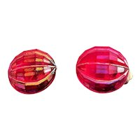 GERMANY signed Iridescent Red Clip On Earrings