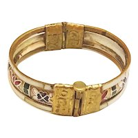 Hinged Brass and Shell Bracelet with Red, White and Blue Enamel and Security Post