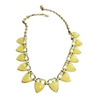 CORO signed Goldtone and Cream Colored Marbled Linked Necklace