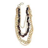 Multi Strand Goldtone Chain Necklace with Pretty Brown Chain Link