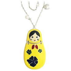 Beautiful Russian Doll Enameled Necklace with Pretty Flowers