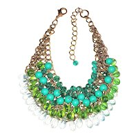 Weaved Beaded Bib Front necklace with Pretty Blue and Green Beads
