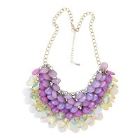 Weaved Beaded Bib Front Necklace with Pretty Lavender and White Beads