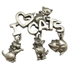 SPOONIQUES signed I Love Cats Pewter Pin Brooch with Cute Kitty Cat Charms