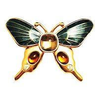 MONET signed Butterfly Green and Goldtone Pin Brooch
