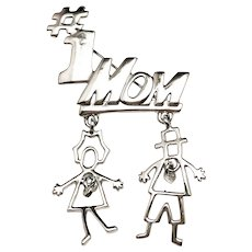 AJC signed #1 MOM Silvertone Pin Brooch with a Girl and Boy Charm