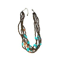 Multi Strand Brown and Blue Glass Beaded Necklace