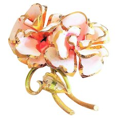 Enameled  Pink on Goldtone  Roses Pin Brooch with Pretty Green Leaves
