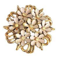 Enameled Pink Flower Cluster on  Goldtone Pin Brooch with Pretty Rhinestones