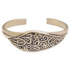 Pretty Flower Raised Design Silvertone Cuff Bracelet