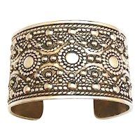 Wide Southwestern Designed Silvertone Cuff Bracelet