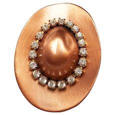 Copper Cowboy Hat Pin Brooch with Pretty Sparkling Rhinestones