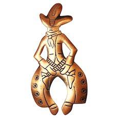 Copper Western Cowboy Pin Brooch