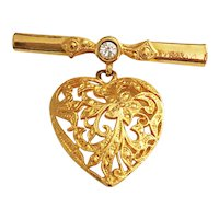 BAR BROOCH with Filigree Heart Goldtone Pin Brooch with Sparkling Rhinestone Accent