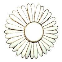 Enameled White on Goldtone Flower Pin Brooch