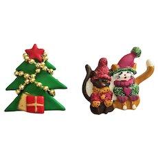 Fun- Santa Kitty Cats and a Christmas Tree Pin Brooches