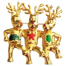 CHRISTMAS Three Dancing Reindeer Goldtone Pin Brooch