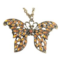 SALE- BUTTERFLY  Amber Rhinestone and Bronze Color Butterfly Necklace