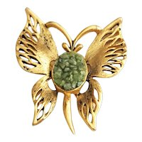Butterfly Goldtone Pin Brooch with Pretty Green Stone Chips Center
