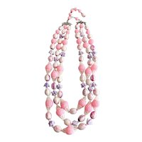 HONG KONG signed Multi Strand Pink , White and Lavender Beaded Necklace