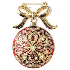 MONET signed Red and Goldtone Christmas Ornament Pin Brooch with Sparkling Rhinestones