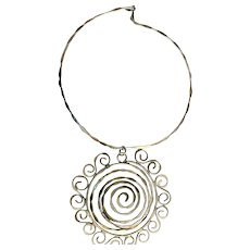 Large Flower Statement Piece Silvertone Necklace on a Pretty Choker