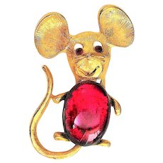 REDUCED - Cute Jelly Belly Mouse Goldtone Pin Brooch with Pretty Ruby Red Eyes and Belly