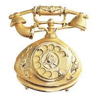 AJC - Goldtone Victorian Look Telephone Pin Musical Brooch