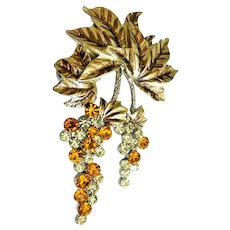 Rhinestone Clear and Orange Grape Cluster with Leaves Brooch / Pendant
