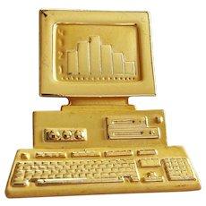 AJC signed Detailed Computer Goldtone Brooch