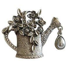 Watering Can Filled with Flowers Silvertone Brooch with Faux Pearl