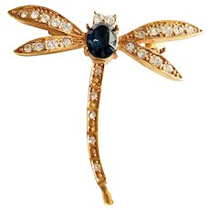 Dragonfly Blue and Goldtone Brooch with Rhinestones