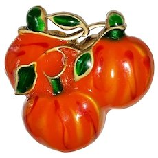 Enameled Orange and Goldtone Pumpkins Brooch with Pretty Green Leaves
